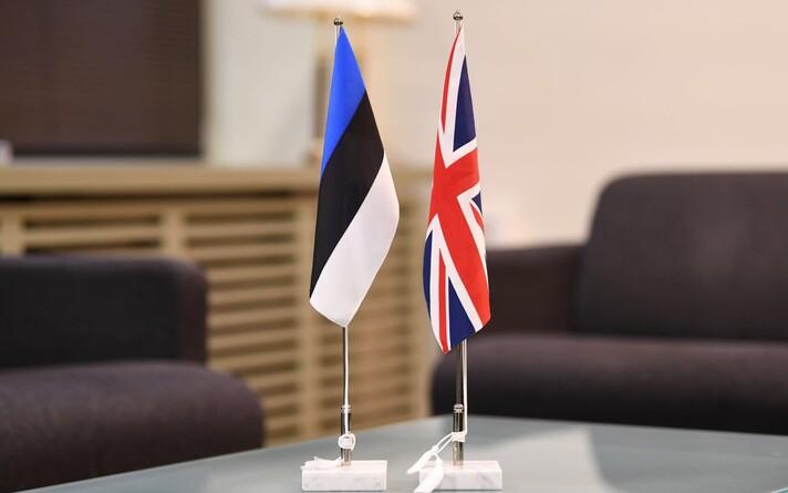 Estonian and U.K. flags.