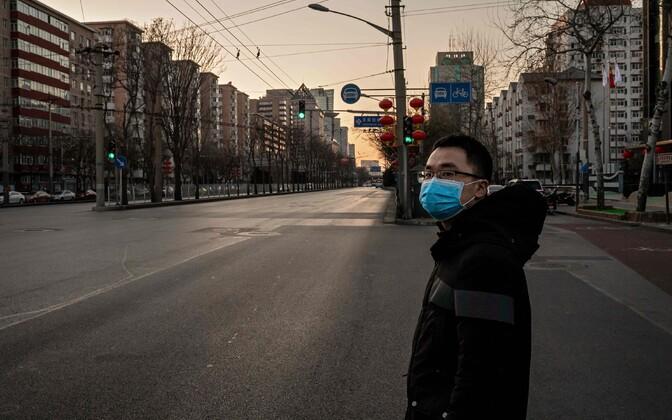 Täiesti tühi tänav Pekingis.