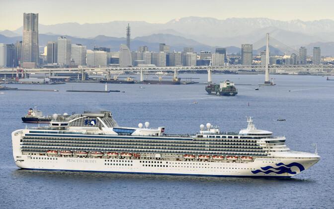 Laev Diamond Princess Yokohama sadamas.