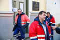 Sailors rescued from ship Pongoma in front of Russian embassy in Tallinn.