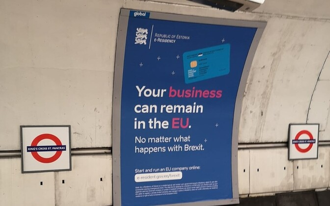 An Estonian e-residency poster at a London Underground station recently.