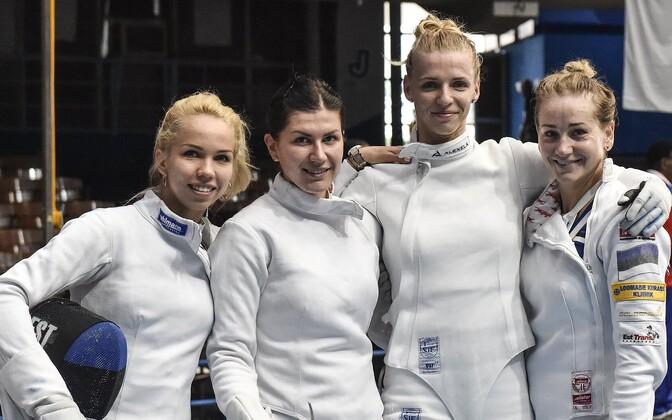 Estonian women's epee team. From left Erika Kirpu, Julia Beljajeva, Katrina Lehis and Kristina Kuusk.