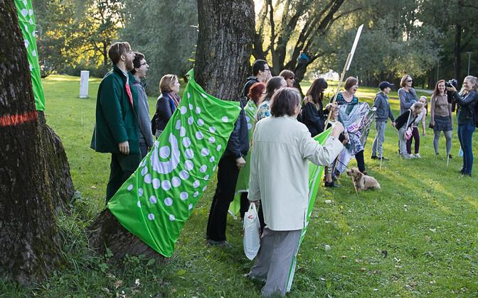 Erakond Eestimaa Rohelised lipp puu ümber.