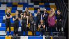Строительство сцены для полуфиналов Eesti Laul в спортзале Тартуского университета.