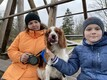 Oskar with his mother Pille and dog Krissu.