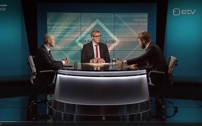 Тынис Мёльдер (слева) и Евгений Осиновский (справа) в телепередаче