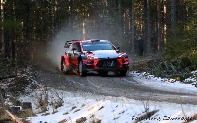 Ott Tänak in the Hyundai i20 in Sweden Thursday.