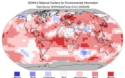 2020. aasta jaanuari temperatuurid. Punased toonid näitavad keskmisest soojemat, sinised jahedamat. Skaala mõlema otsa viimane värv tähistab rekordit.