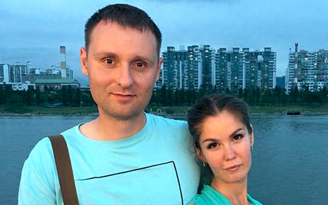 Vadim Kutsenko, keda enda sõnul ülestunnistuse saamise eesmärgil piinati, ja abikaasa Jekaterina.