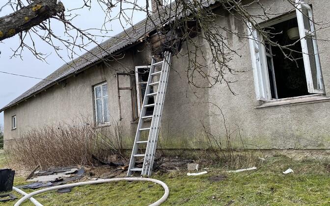 Пожар в деревне Кергу.