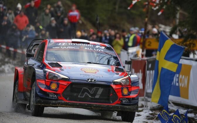 Ott Tänak - Martin Järveoja competing in Rally Sweden.