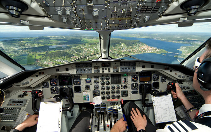 Saab 340 cockpit, the plane to be used in this week's Treaty on Open Skies flight over Russia's Western Military District.