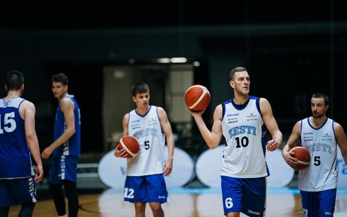 Тренировка сборной Эстонии по баскетболу.