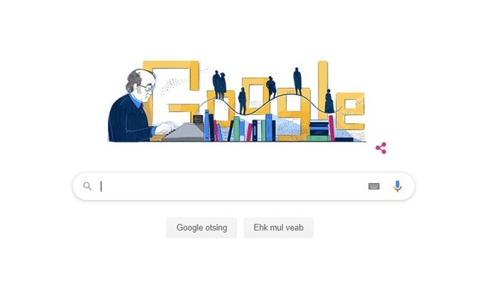 Google doodle of author Jaan Kross.