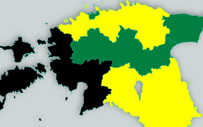 Erakondade toetused regioonides - kollane tähistab Reformierakonna, roheline Keskerakonna ja must EKRE liidripositsiooni.