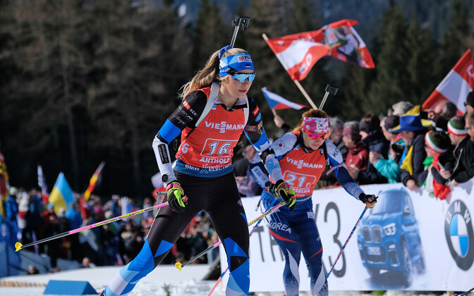 Estonia's Regina Oja was part of the biathlon mixed relay team which came in sixth in Belarus on Friday.