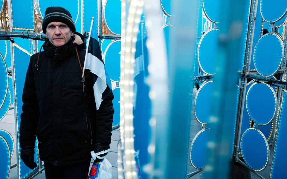 Installatsioon ja iseseisvusmanifesti ettelugemine Tammsaare pargis