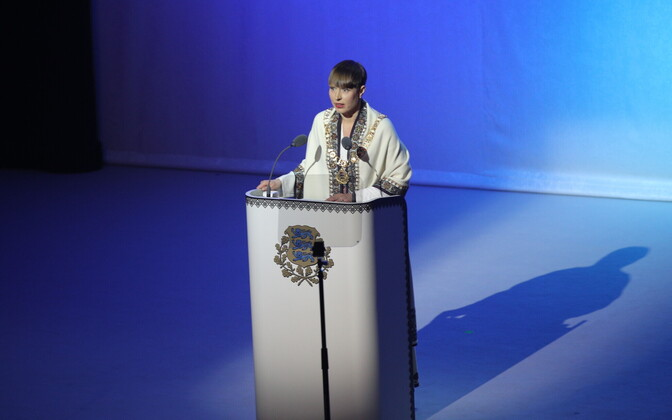 President Kersti Kaljulaid giving her speech at Ugala Theatre.