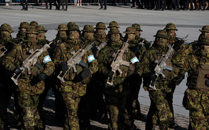 Members of the masked defense unit during the parade.