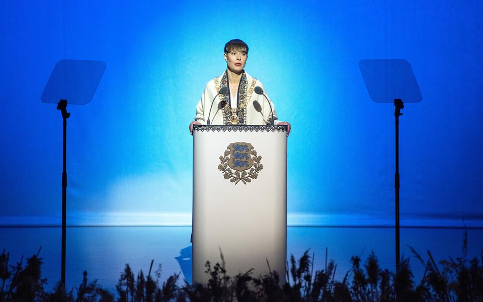 President Kersti Kaljulaid vabariigi aastapäeva kõnet pidamas