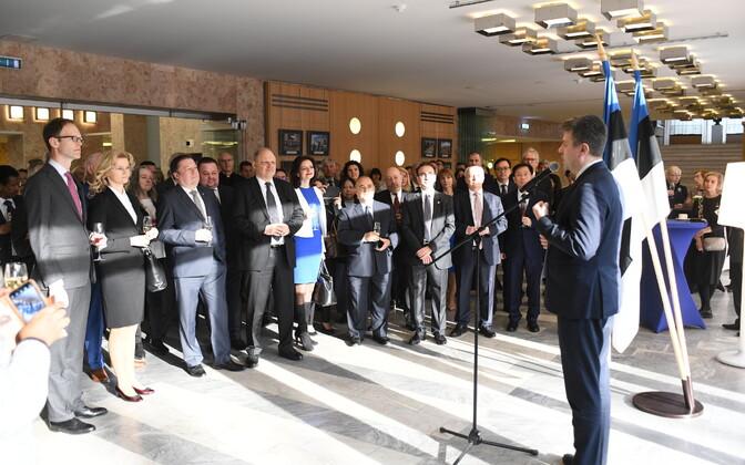Foreign minister Urmas Reinsalu addressing ambassadors.