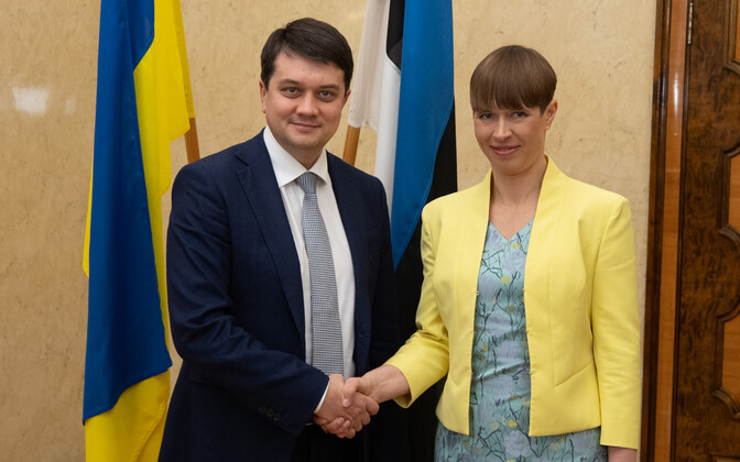 President Kersti Kaljulaid with speaker of the Ukrainian parliament, in Kadriorg Tuesday afternoon