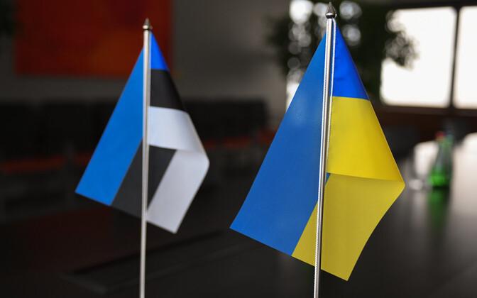 Ukranian and Estonian flags.