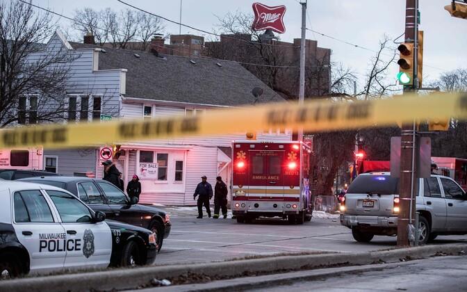 Politsei tulistamiskohal Milwaukees.