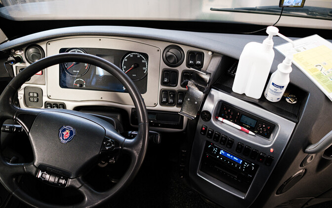Lux Express driver's cabin.
