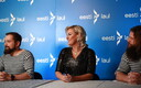 Eesti Laul finalists Synne and Väliharf giving a press conference Friday. February 28, 2020.