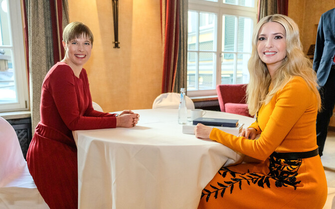 President Kersti Kaljulaid at a meeting with Ivanka Trump in Munich in February 2019.