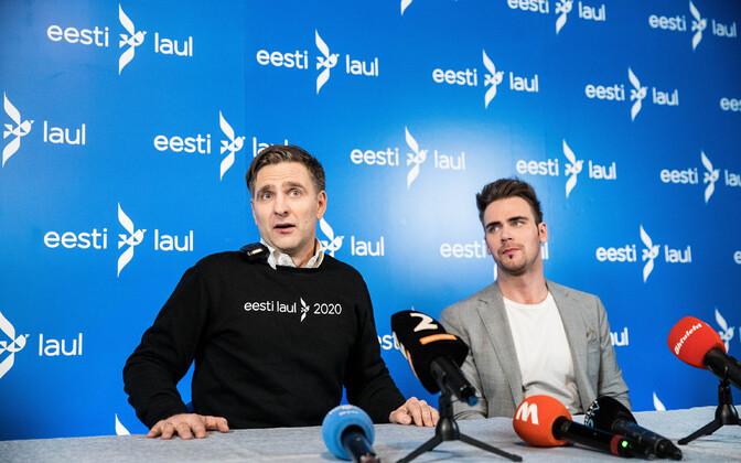 Eesti Laulu peaprodutsent Tomi Rahula ja Eesti Laul 2020 võitja Uku Suviste
