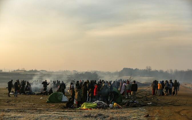Беженцы на греко-турецкой границе.