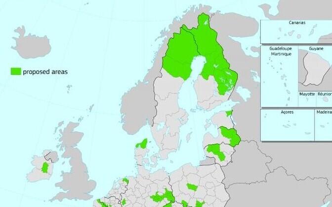 Õiglase Ülemineku Fondist toetust saavate piirkondade kaart.