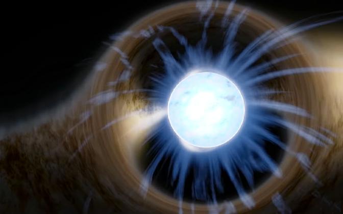 Valgust painutav neutrontäht kunstniku nägemuses.