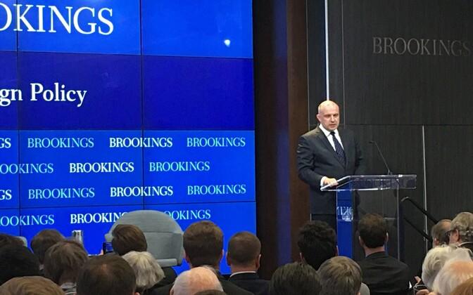 Kaitseminister Jüri Luik mõttekojas Brookings.