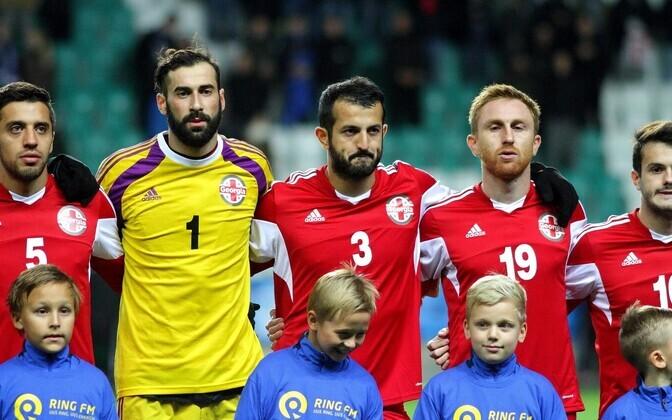 Футболисты сборной Грузии в Таллинне осенью 2015 года.