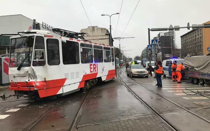 A tram and truck collided in Tallinn on Wednesday.