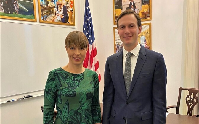 President Kersti Kaljulaid with Jared Kushner, Ivanka Trump and Robert O'Brien in Washington.