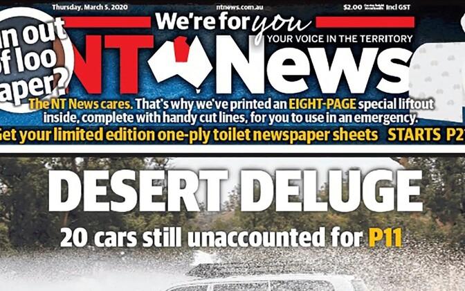 Ajalehe NT News 5. märtsi erinumbri esikülg.