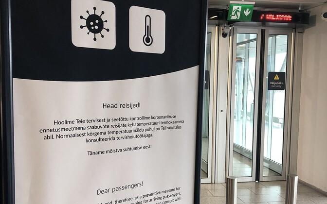 Reisijate teavitus termokaameratest Tallinna lennujaamas