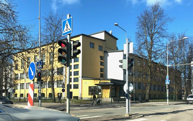 Kristiine High School in Tallinn, the first school to be closed after a pupil tested positive for COVID-19.