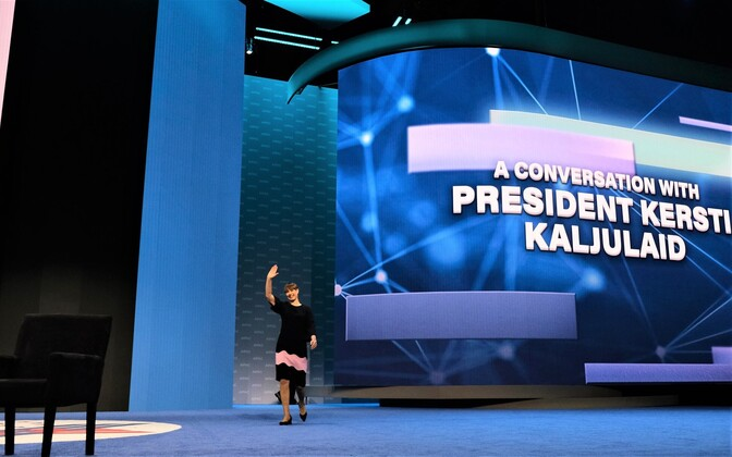 President Kersti Kaljulaid at the AIPAC conference in Washington, where she gave an address.