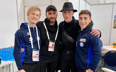 Daniel Grassl (vasakult), Lorenzo Magri, koreograaf Benoit Richaud ja samuti Tallinnas võistelnud Gabriele Frangipani.