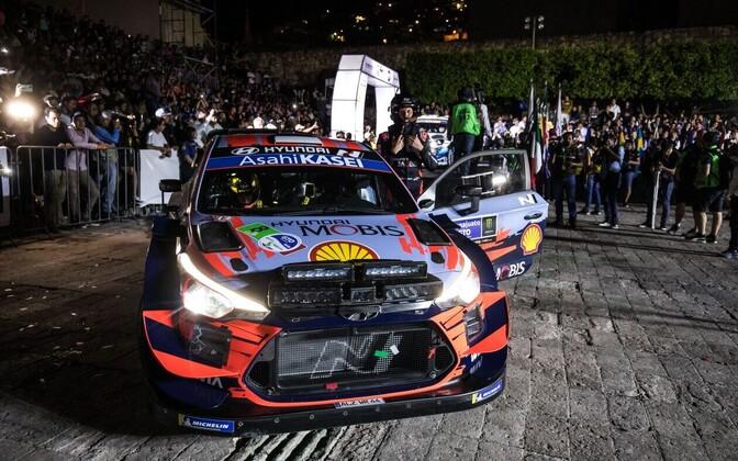 Ott Tänak and Martin Järveoja at Rally Mexico on Thursday.