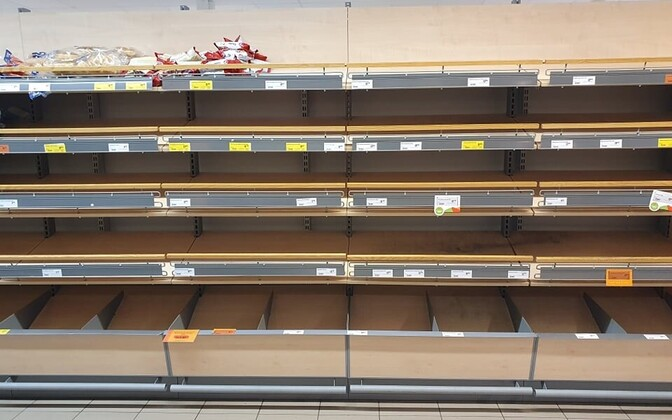 Bread shelves in a Rimi supermarket in Saaremaa on Thursday