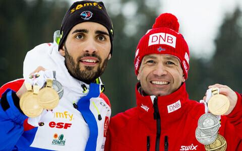 Martin Fourcade ja Ole Einar Björndalen 2016. aasta MM-il võidetud medalitega.