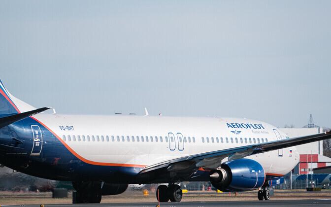 Aeroflot plane at Tallinn Airport.