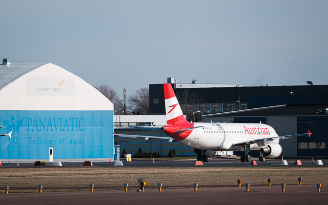 Austrian Airlines plane at Tallinn Airport.