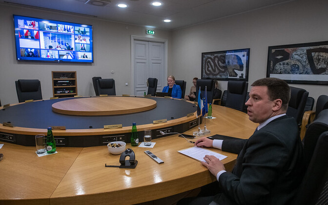 Prime Minister Jüri Ratas at Tuesday evening's coronavirus video conference with the EU's leaders.